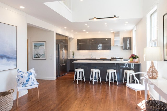 Bright kitchen with tons of storage, high end appliances, everything you need to entertain lavishly.