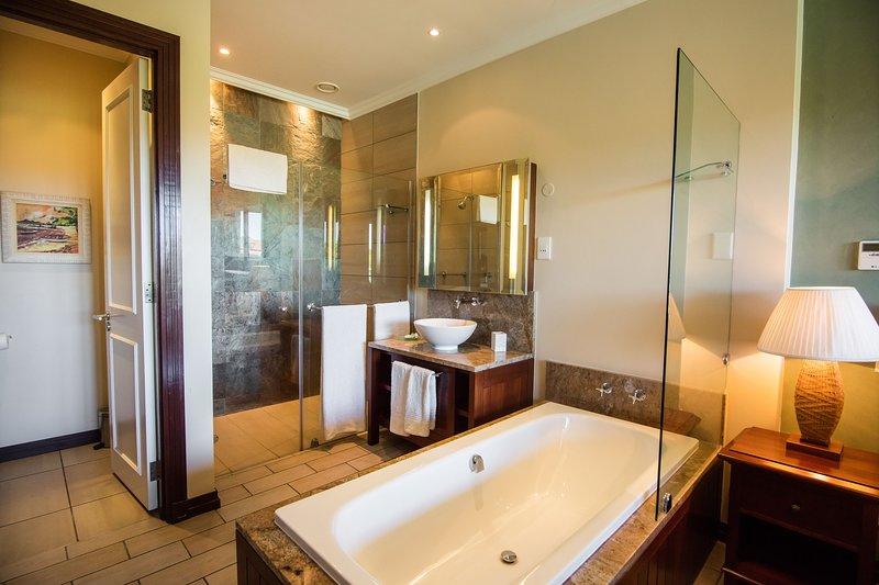 Cabina doccia principale, vasca da bagno e lavandino.