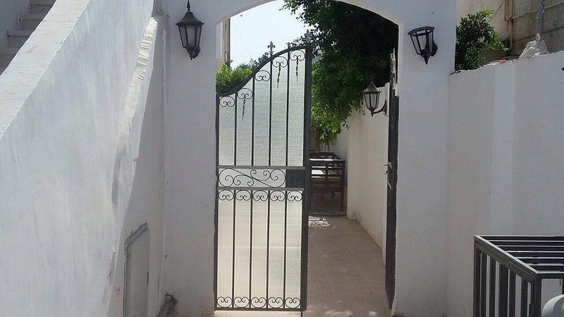 Entrada a la terraza con puertas aseguradas