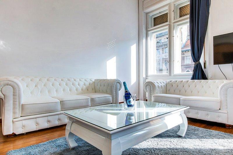 sedersi sul divano in pelle bianca ..... e godetevi le vostre vacanze .... rilassatevi con la TV da 50 pollici e