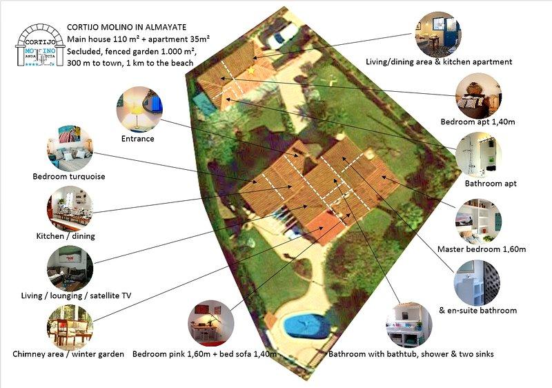Visão geral da casa principal, apartamento e jardim