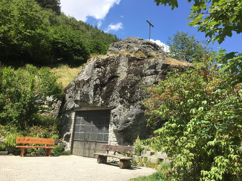 There is an amazing rock chapel in Täsch.