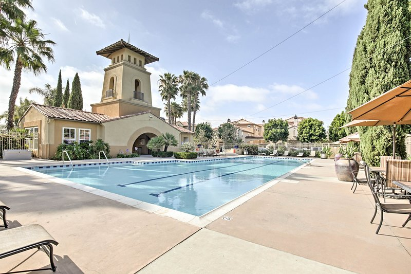 Swim laps in the community pool of this Chula Vista vacation rental condo.