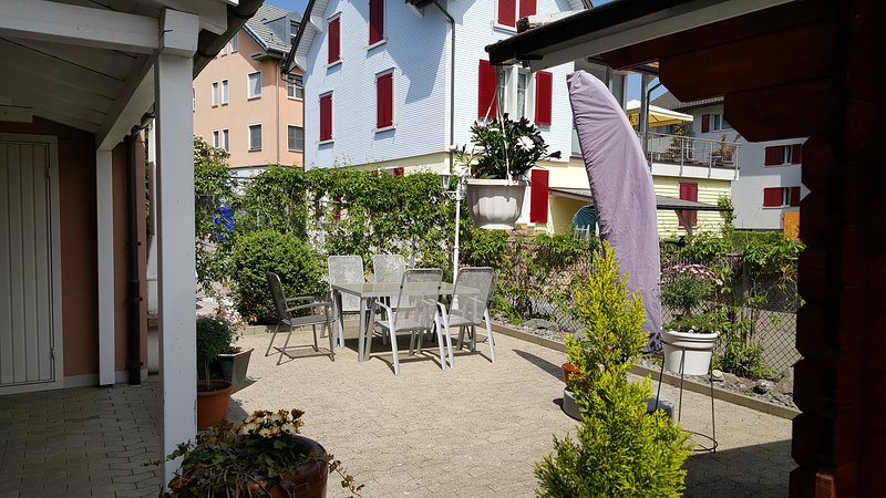 You are welcome to use our garden with a large parasol, furniture and garden fireplace.