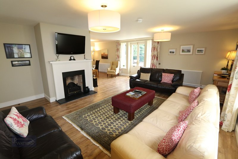 Spacious Open Plan Living Room with gas Fire & Plasma TV