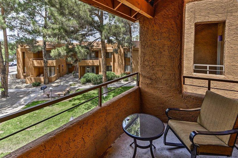 A quiet Phoenix retreat awaits at this 2-bed, 2-bath vacation rental condo.