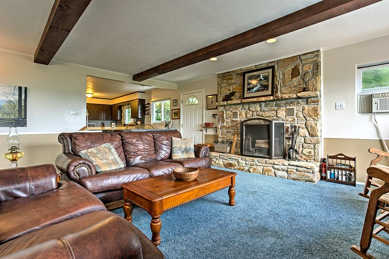 Let the flames from the wood-burning fireplace eliminate your winter chill.