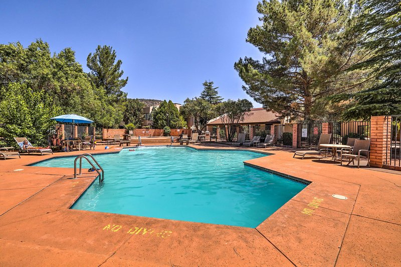 This 3-bed, 2-bath apartment features resort-style amenities, including a pool!