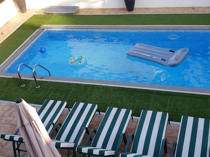Private pool with sunbeds and pool games. FREE Wi-Fi available.