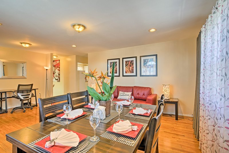 This comfortably furnished home comfortably sleeps up to 8 guests!