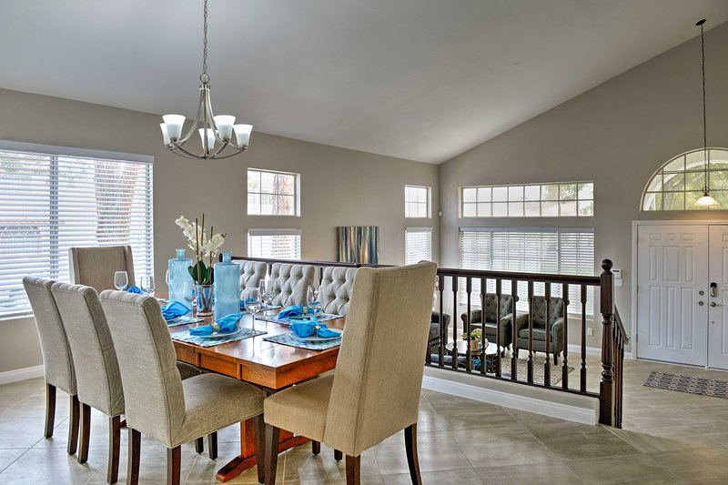 Share formal meals with your companions around the elegant 8-person dining table