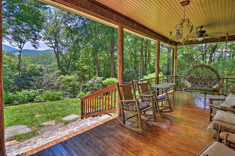 Relax on the front porch while admiring the mountain views.