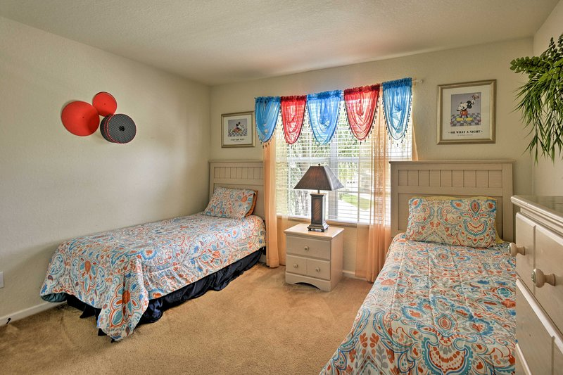 Two more twin beds are provided in this final bedroom.