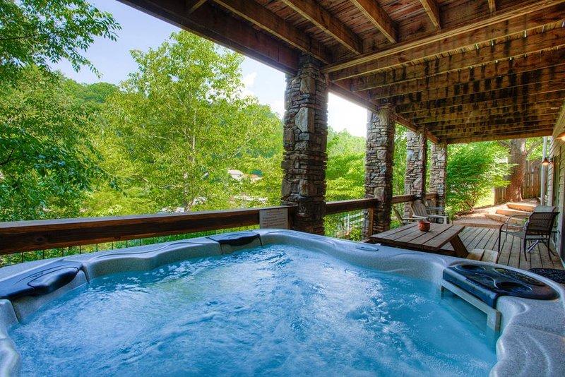 Hot tub overlooking Lake Lure