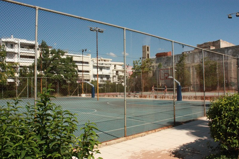 Public tennis court and basketball