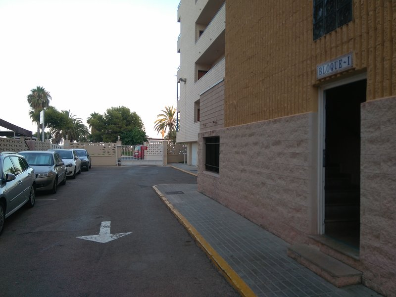 Entrance to the urbanization and the block