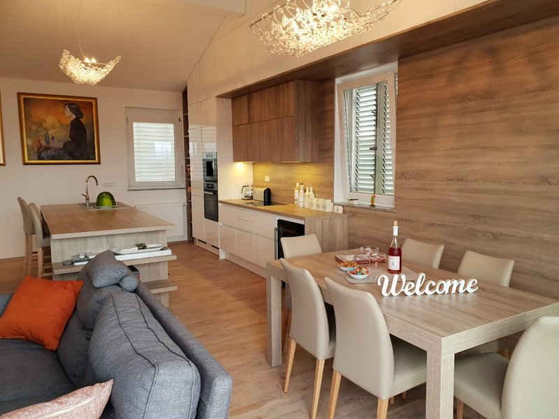гостиная 60 кв м ,  потолки 4м . обеденную зону , место  отдыха у камина и тв   выделенную кухню
