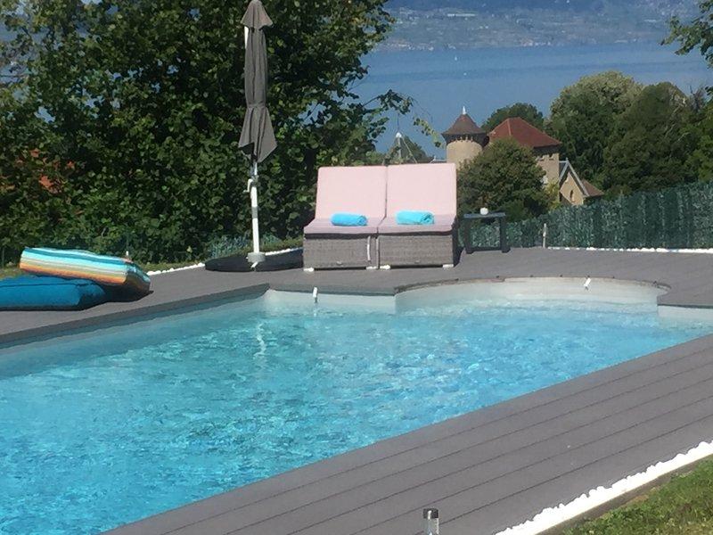 Evian, belle villa avec piscine. Vue extraordinaire sur lac et montagnes, alquiler de vacaciones en Lausana