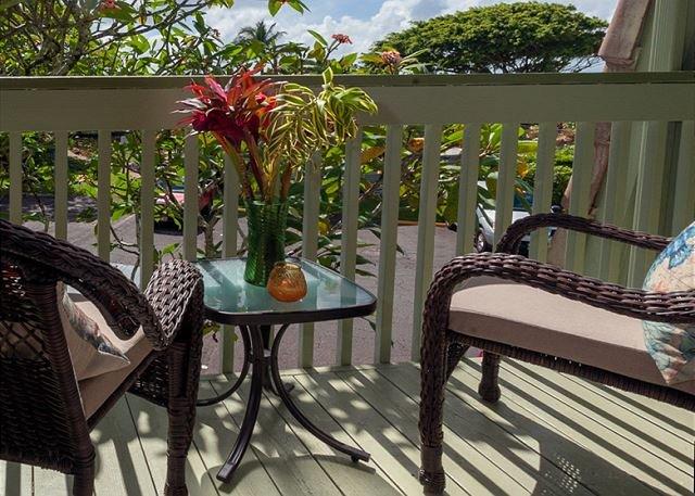 Kauai vacation rentals Puamana 9C Patio view