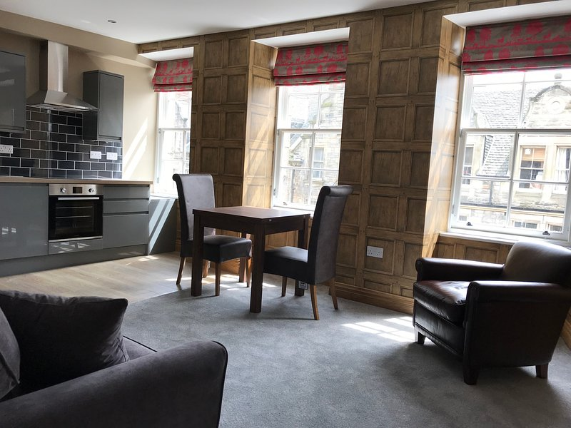 Open Plan Living Room Kitchen with views directly onto Royal Mile