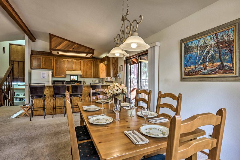 The interior of this vacation rental home offers comfortable furnishings.