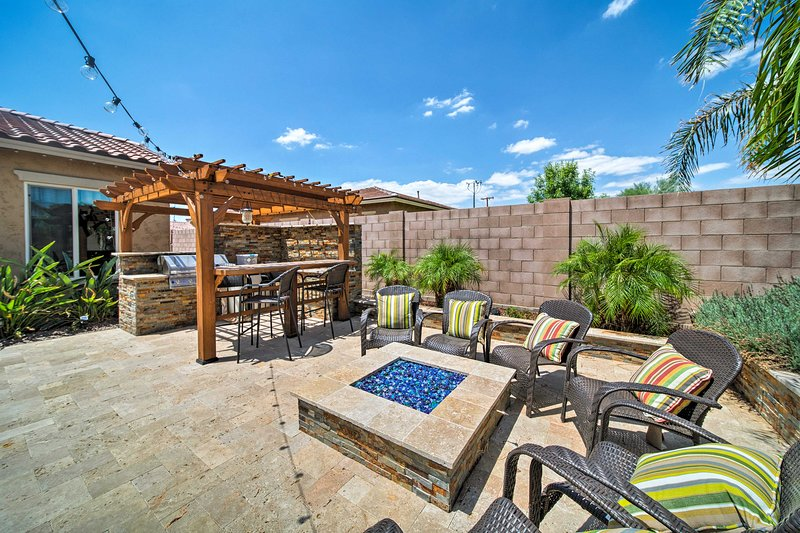 This backyard is perfect for entertaining - with a seasonal pool included!