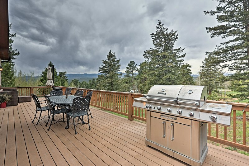 Soak in your location from the deck, with mountain views and a gas grill.