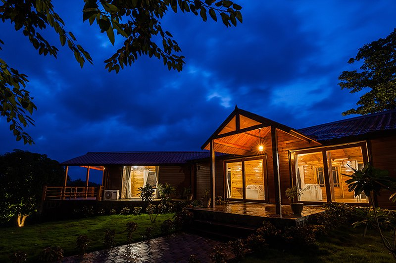 Beautiful evening view of villa