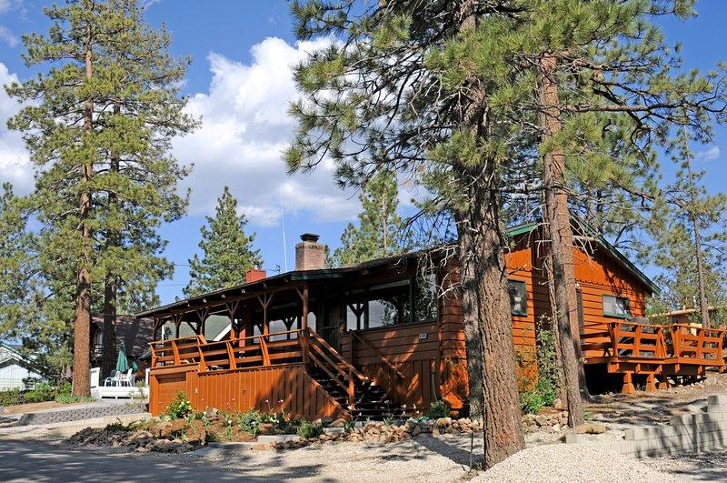 4 Seasons Of Fun Cabin Front in Spring Summer Fall at Big Bear Lake, CA