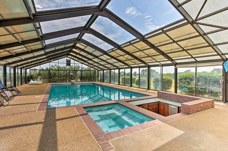 The 124-acre property features a seasonal indoor pool, tennis court, and more!
