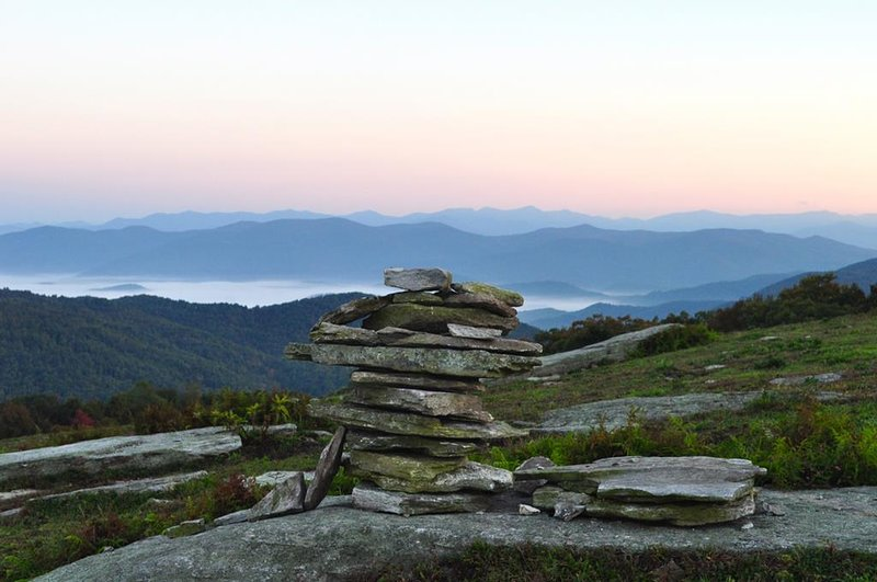 View of cairn from hike on Blue Ridge