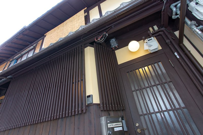 Traditional machiya in secluded laneway across the road from Nijo Castle