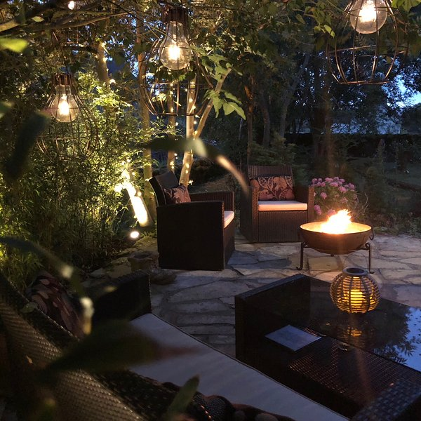 Atmospheric patio with Indian Fire bowl