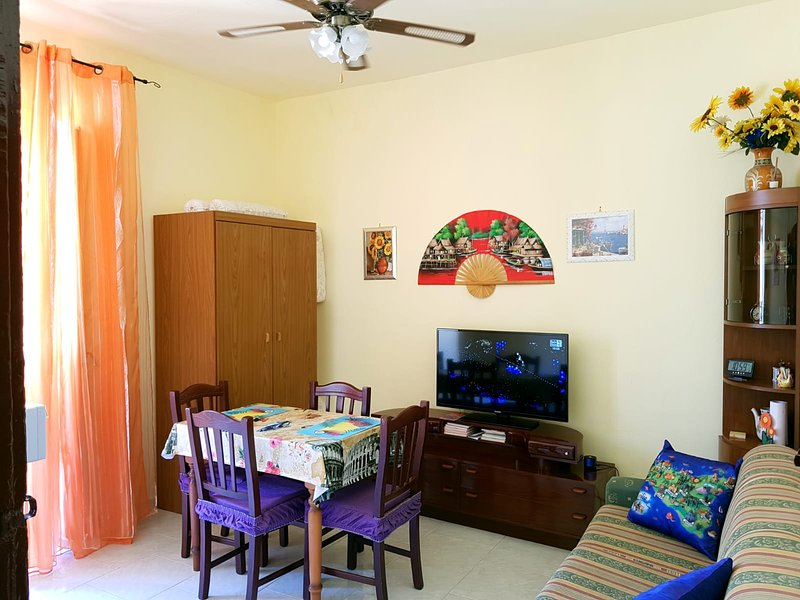 living room, tv satellite channels / 3-seater sofa / 2 single beds