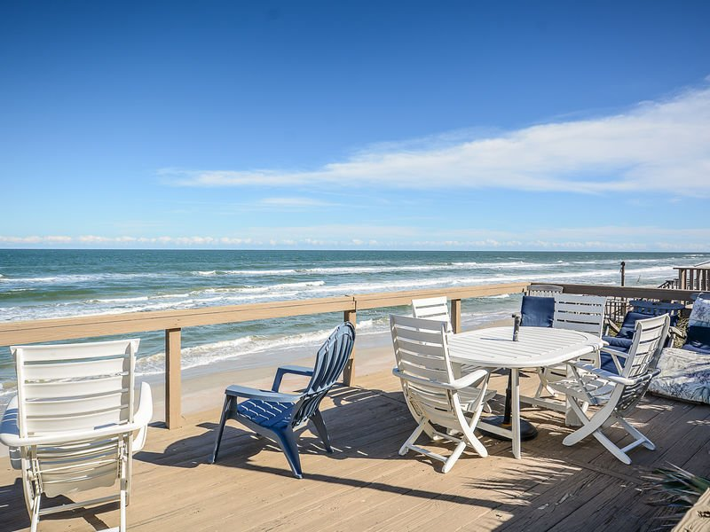 Large, oceanfront deck with plenty of room to relax and enjoy the Florida sun!
