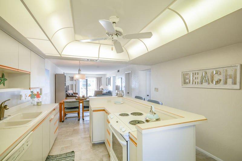 Bright, open kitchen.