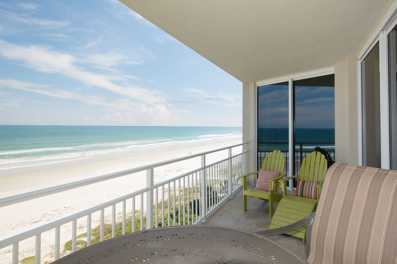 Enjoy oceanfront views from the large balcony.