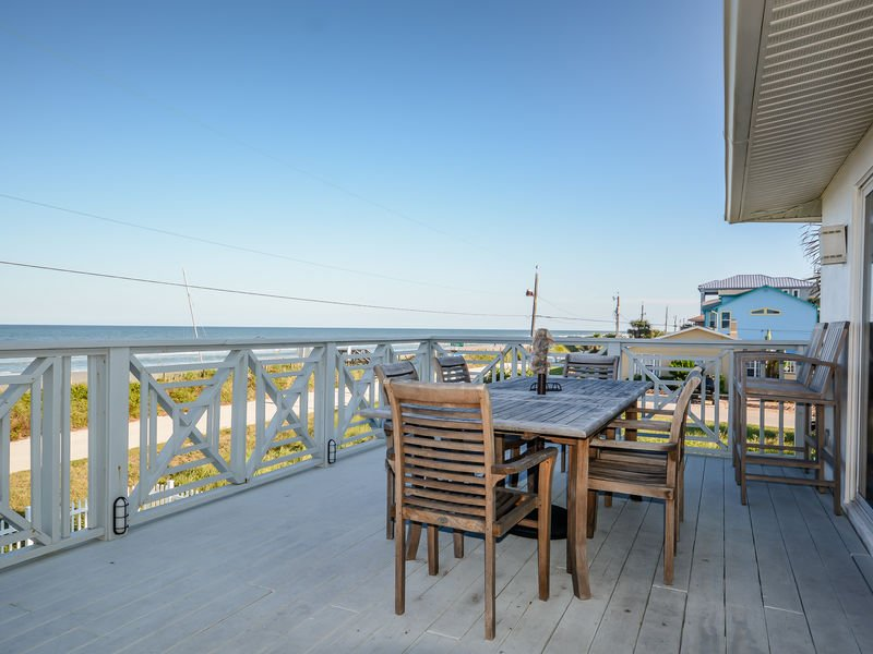 Oversized, oceanfront deck with plenty of room to relax.