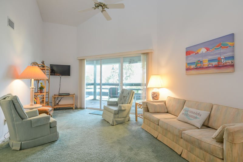 Bright roomy living are with flat screen TV.