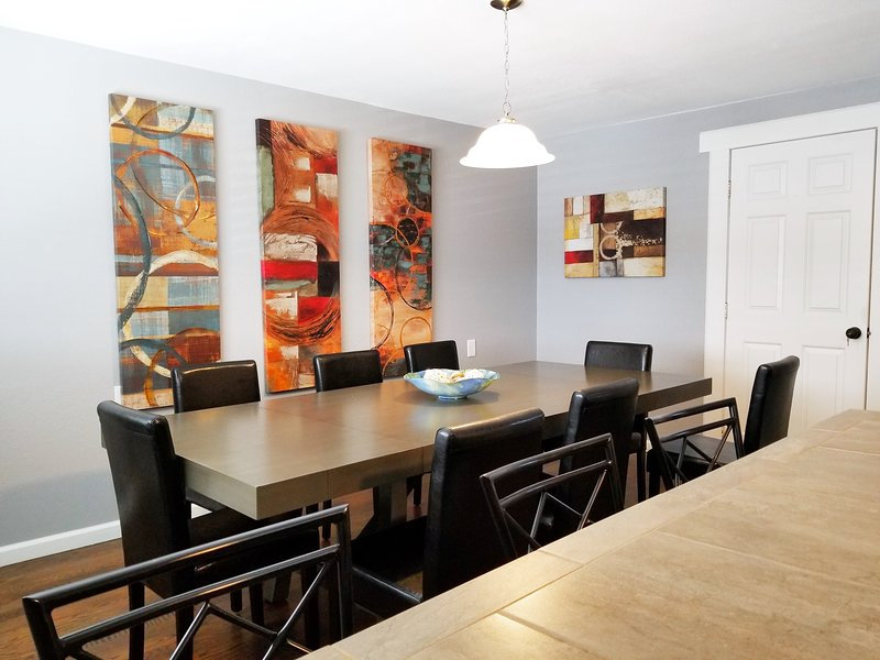 Large Dining Table is perfect for large group. Seats 10 and the counter top area seats an additional