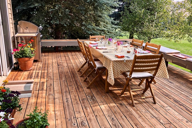 Share elegant al fresco meals on the lovely deck space,.