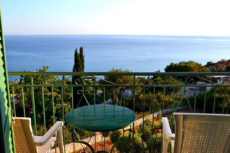 Kefalonia hotels. Lourdata apartments Eagle's Nest: amazing view from the balcony