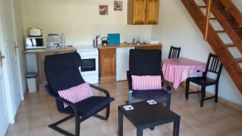 Salon avec table et cuisine