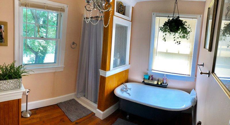Lumière naturelle abondante dans la salle de bain attenante.