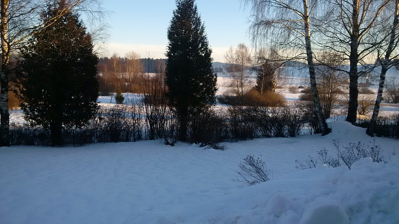 Nature reserve Stadlau from the terrace in winter