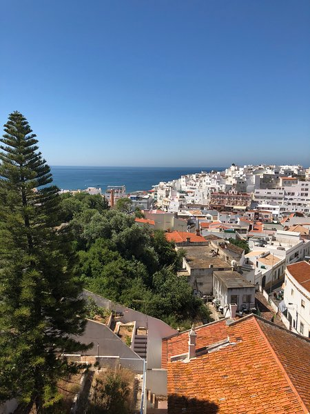 The view from the roof terrace to the old town and sea.