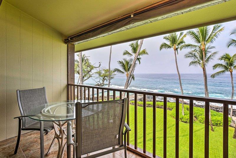 Explore beautiful Kailua-Kona from this oceanfront vacation rental condo.