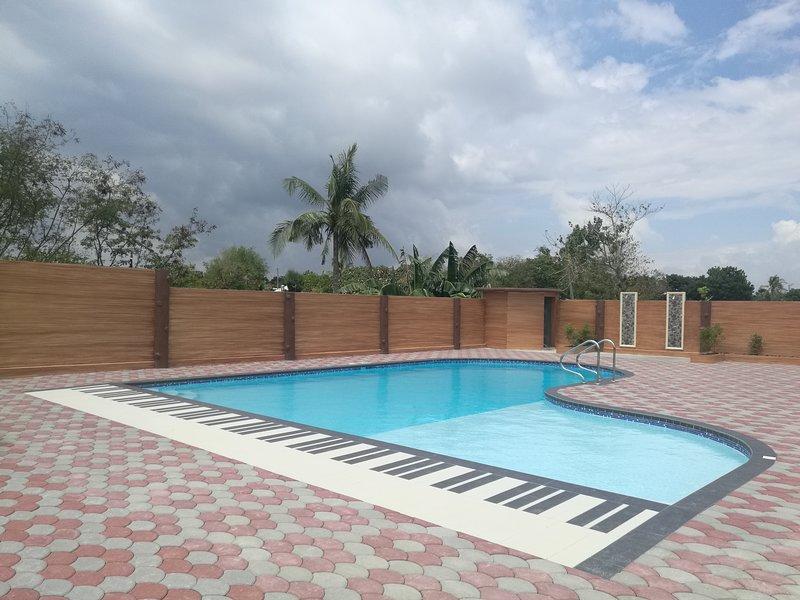 La piscine conçue par le grand piano, dont les clients sont libres d'utiliser!