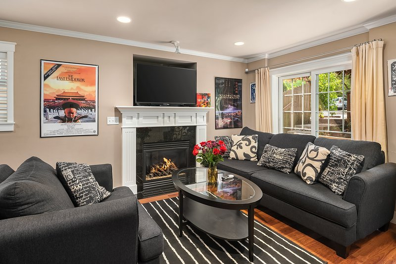 Curl up with a book and a glass of wine in front of the gas fireplace.