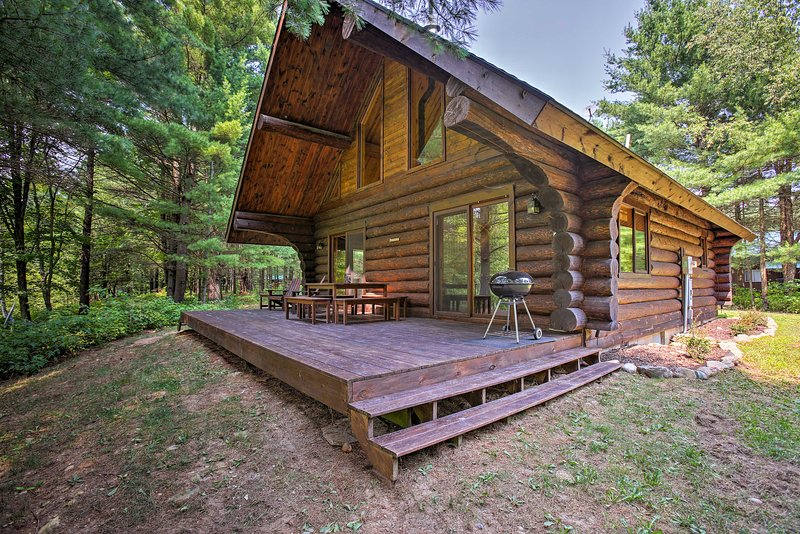 Secluded Log Cabin in NW Michigan w/Fire Pit & Deck, holiday rental in LeRoy